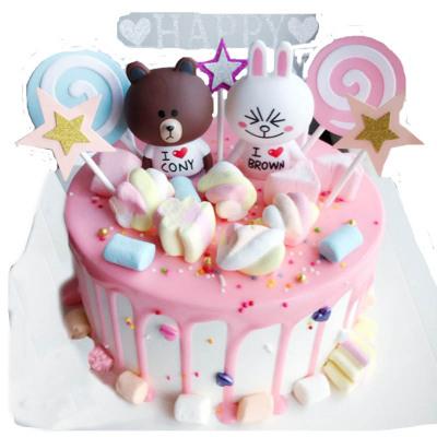 10寸布朗熊生日蛋糕全國同城配送成都武漢蘇州鄭州南京上海蛋糕店送貨上門