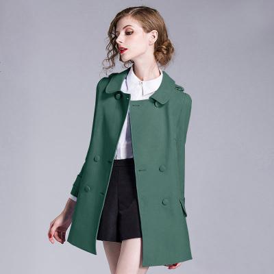 香衣麗櫥2019秋季新款綠色韓版寬松通勤OL外套洋氣時尚短款風衣女