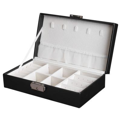 韩版纯色珠宝首饰盒 戒指耳钉项链多功能饰品收纳盒 黑色