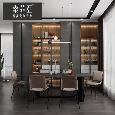 索菲亞酒柜定制現代輕奢餐邊柜酒柜一體靠墻餐廳玄關簡約紅酒柜