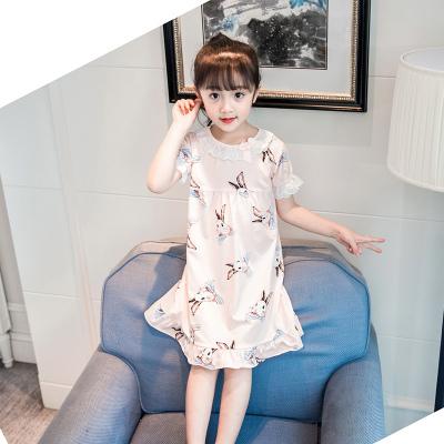 女童棉睡裙夏季短袖中大童宝宝小女孩亲子装家居服薄款儿童睡衣臻涩