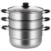 炊大皇不銹鋼三層蒸鍋多功能3層湯蒸鍋28CM蒸饅頭蒸鍋電磁爐 ZG28ZX