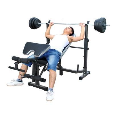 举重床 多功能举重床卧推器 杠铃床深蹲架杠铃套装健身器材哑铃凳[定制] 举重床+100公斤杠铃