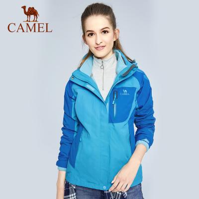 CAMEL骆驼户外冲锋衣 女款透气防风保暖三合一两件套冲锋衣外套