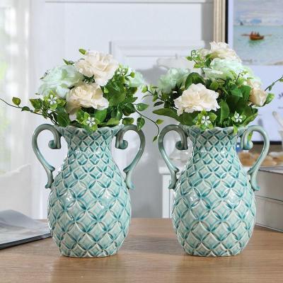雙耳花瓶(不含花)防水(可養鮮 歐式時尚陶瓷花瓶擺件客廳電視柜簡約家居裝飾品餐桌創意現代花插【定制】