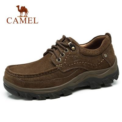 Camel骆驼男鞋潮流户外简约休闲皮鞋牛皮鞋子男百搭低帮运动鞋耐磨登山鞋