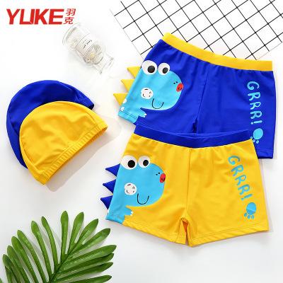 儿童泳裤男童中大童平角游泳裤宝宝分体泳衣男孩游泳衣带帽1-3岁