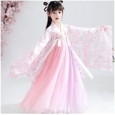 兒童漢服女童夏裝齊胸中國風超仙改良連衣裙女孩襦裙櫻花古裝學生