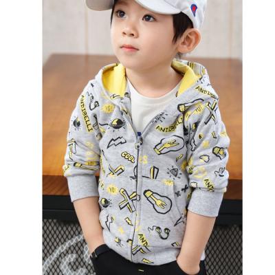 安笛貝樂新款男童女童兒童通用外套兒童春秋裝灰色卡通拉鏈衫韓版深藍色連帽休閑衛衣90-130cm