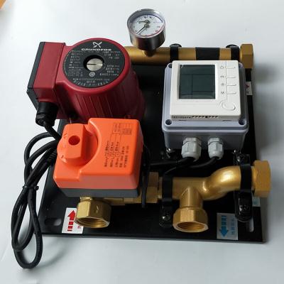地暖混水中心 地暖分水器配件普通水泵和格兰富水泵地暖混水中心自动混水中心