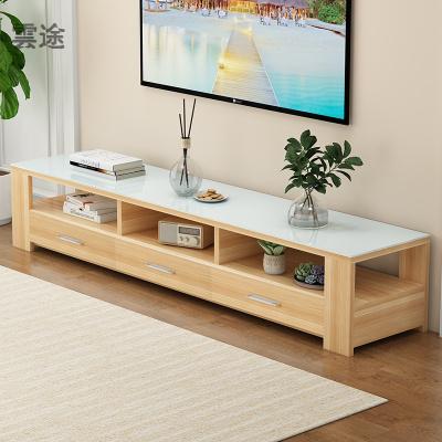 電視柜茶幾組合現代簡約小戶型家用客廳鋼化人造板電視機柜定制 1.2M電視 1.6M電視柜(全淺胡桃+白人造板) 組裝