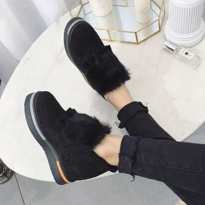 2019冬季新款厚底内增高圆头套脚加绒保暖棉鞋百搭休闲毛毛鞋