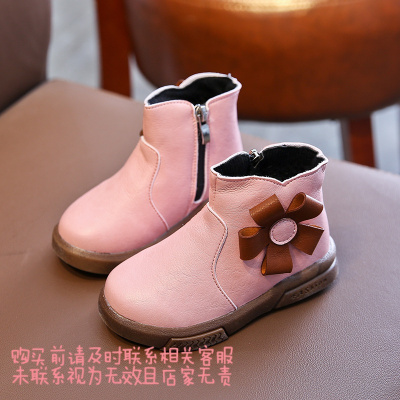 女童靴子2019秋冬新款韩版花朵公主鞋百搭女孩中筒靴加绒保暖棉靴 粉色 23码内长14.5cm