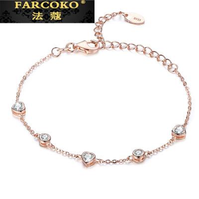 法蔻珠寶輕奢品牌2020新款銀手鏈女時尚簡約鑲皓石玫瑰金學生閨蜜飾品情人節送女友送戀人