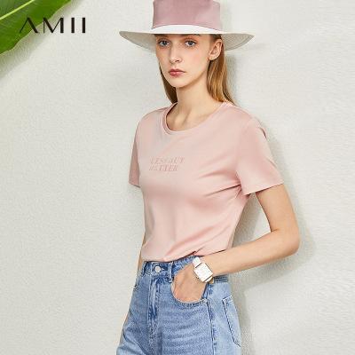 Amii極簡雙面絲光棉T恤女2020夏新款全棉彈力修身百搭印花上衣