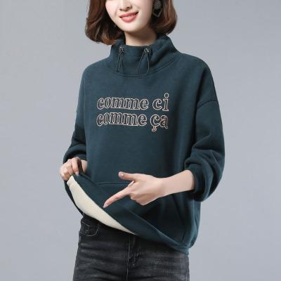 芷臻zhizhen女士衛衣加絨加厚2020春裝新款潮ins寬松韓版春季時尚高領外套上衣