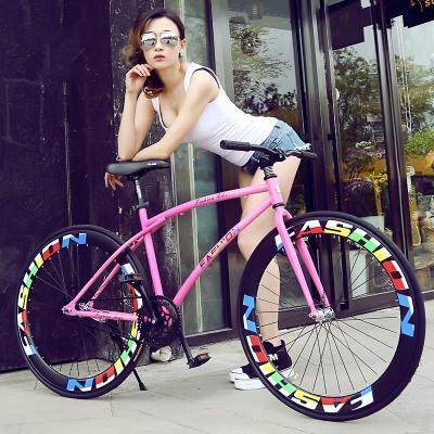 死飞自行车倒刹骑彩色男女学生款成年人复古荧光彩色公路弯梁单车死飞公路车自行车便携轻巧轻便脚踏车男女变速脚踏车可带人