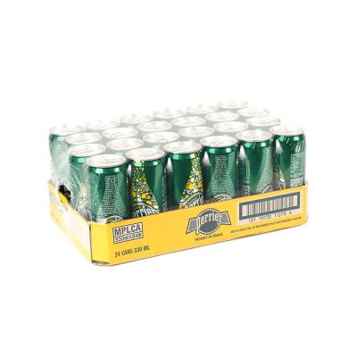 【柠檬罐装】巴黎水(Perrier)天然气泡矿泉水(柠檬味)罐装 330ml*24罐/箱 进口饮用水 矿物质水 法国进口