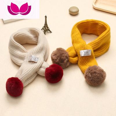嬰幼兒童圍巾秋冬季保暖加絨毛線針織男小孩女童公主寶寶毛球圍巾