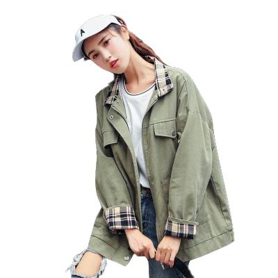 秋季新款 ins外套女韓版寬松bf工裝夾克原宿風格子拼接POLO領棒球服女士夾克棉莎丞