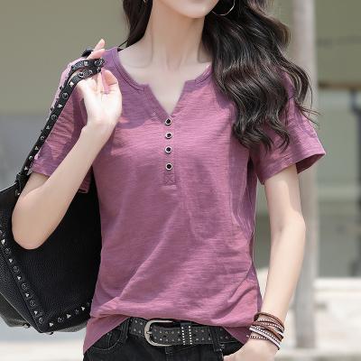 佐露絲短袖t恤女裝棉2020年夏裝新款韓版寬松大碼女士T恤V領紐扣紫色半袖體恤上衣