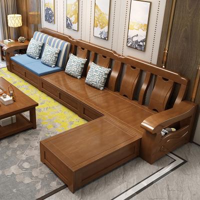 枳記家新中式實木沙發冬夏兩用現代簡約大小戶型轉角木沙發客廳家具套裝