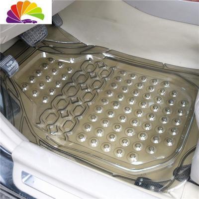 前排單片加大加厚水晶透明通用汽車乳膠防水腳墊PVC塑料腳墊防滑 加大吸盤茶黑色(前排單片)