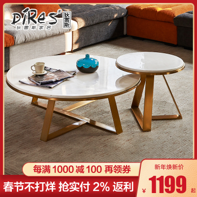 狄雷斯/DILEISI 客厅圆形创意不锈钢小茶几 北欧简约现代茶几 CJ-C01 100cm*35cm丨黑色喷涂茶几
