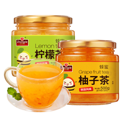 眾德蜂蜜柚子檸檬茶1kg罐裝沖水喝的飲品 泡水沖飲沖泡水果茶醬