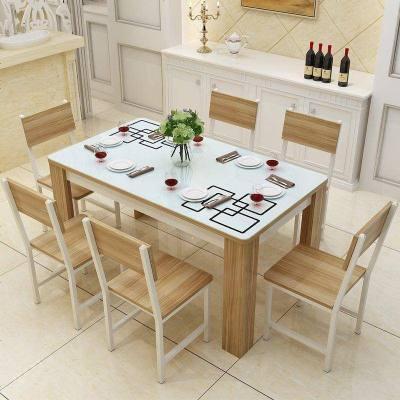 餐桌椅組合6人簡約現代組合長方形鋼化玻璃實木質餐桌吃飯桌 餐廳家具套裝 賽可優 餐廳家具套裝 賽可優