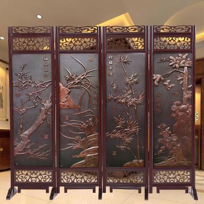 现代实木屏风酒店餐厅移动屏风隔断折屏办公室可折叠仿古中式屏风定制定制!