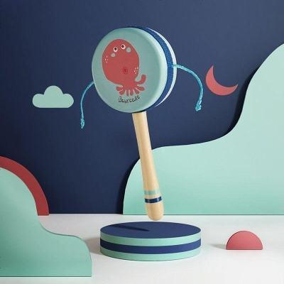 babycare嬰兒撥浪鼓可啃咬傳統木質0-1歲寶寶波浪鼓 手搖鼓玩具 海霧藍