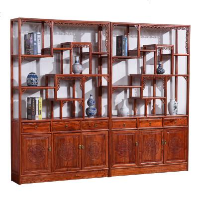 明清仿古古典收藏阁隔断展示架全实木榆木多宝阁蝙蝠博古架陈列柜
