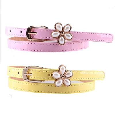兒童女童韓版百搭時尚珍珠花朵腰帶女士女生新款皮帶細腰帶