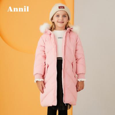 安奈兒童裝女童外套連帽冬季新款燈芯絨保暖女孩羽絨服加長款