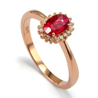 SHE CENTURY 天然紅寶石18K金時尚鑲鉆戒指 女士 首飾飾品春節禮物送媽媽送戀人