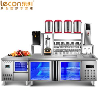 乐创(lecon)2双温工作台 奶茶工作台店 咖啡设备 对开卧式冷柜烘焙设备 不锈钢水吧台 奶茶点水吧台必备