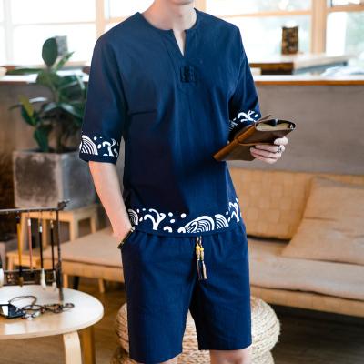 X-MAN2020夏季新款亞麻休閑短袖T恤套裝男中國風棉麻兩件套潮牌休閑短褲兩件套中式復古印花t恤TZ1928