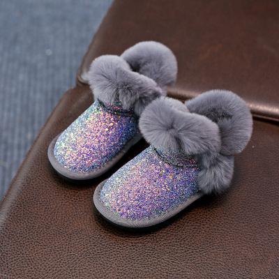 热卖女童雪地靴2019新款冬季棉鞋加绒儿童亮片棉靴1-3-13岁中大童短靴