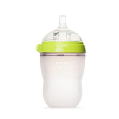 可么多么(como tomo)婴儿全硅胶宽口径防摔奶瓶 250ml 绿色