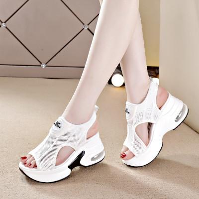 TPXHE 厚底涼鞋女2020夏新款運動鞋白色低幫鞋透氣網面飛織氣墊旅游鞋潮