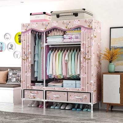 罗森堡 简易衣柜带抽屉布衣柜钢架加粗加固简约现代经济型组装链接衣橱收纳柜子带抽屉