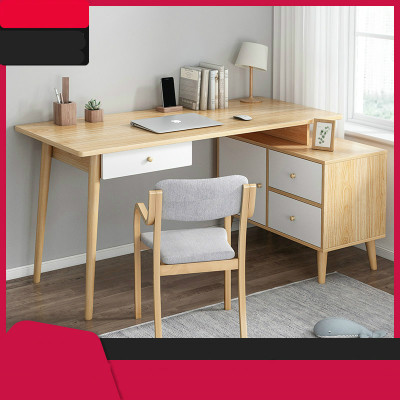 北歐轉角書桌家用實木腿電腦桌ins風簡約雙人辦公臥室拐角小桌子