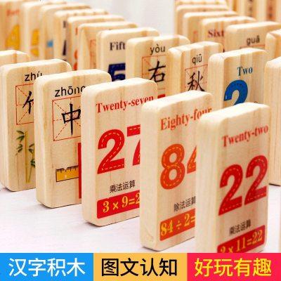 木制多米諾骨牌兒童識字積木2質益智玩具3-4-5-6歲男女孩幼兒早教 100片雙面漢字(正反面都是漢字)送收納