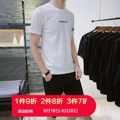 朗衣貝(Lang Yi Bei)夏裝2020新款兩件套裝男休閑短袖T恤學生滌淪韓版潮流休閑運動套裝薄款FK81
