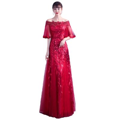 无畏衣衣2020新款女春装新娘敬酒服大合唱演出服演讲比赛亮片长裙红色喜庆礼服裙一字领五分袖连衣裙子