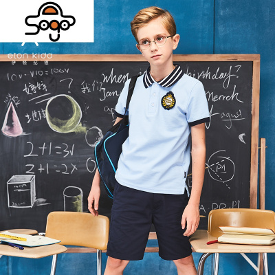 校服 夏装男童班级服两件套装男生小学生T恤短裤制服