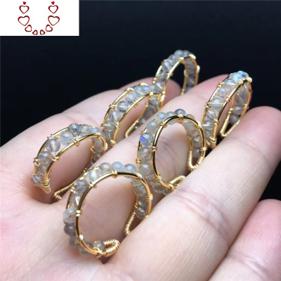 原創設計灰月光戒指活口拉長石藍月光戒指水晶飾品 Chunmi水晶戒指