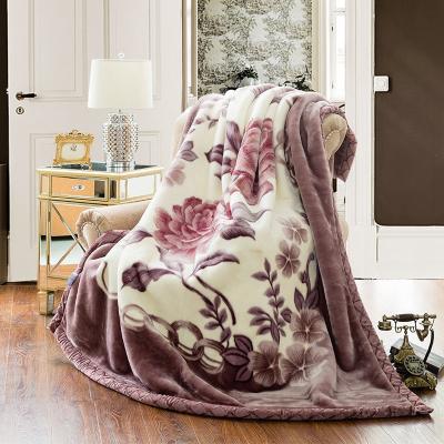 雅丽薇(yaliwei)毛毯冬季加厚双层拉舍尔盖毯单双人铺床学生宿舍床单婚庆大红150x200cm冬季保暖