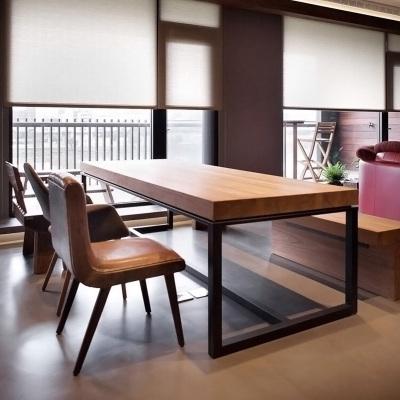 金沙公爵 北歐家具餐桌椅組合現代簡約美式飯桌復古鐵藝實木長方餐桌書桌電腦桌
